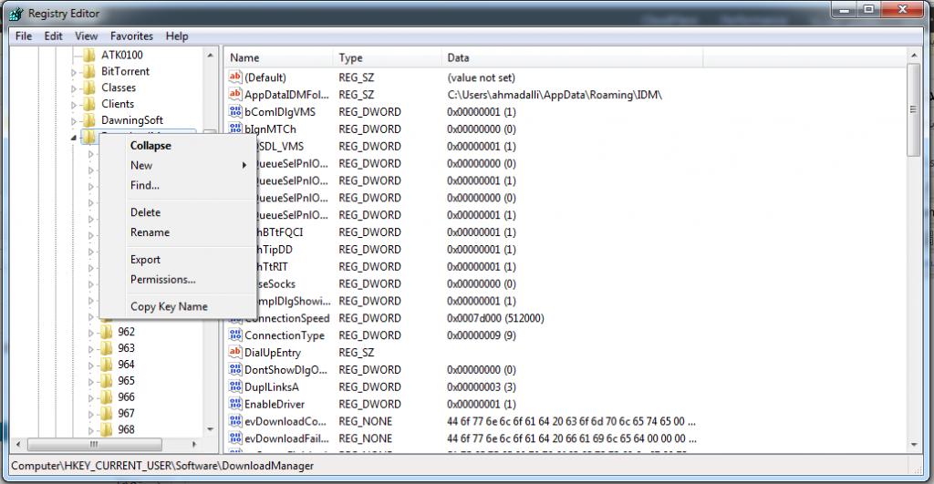 regedit IDM Export 1024x531 ترفند: انتقال لیست دانلود و مقدار دانلود انجام شده نرم افزار Internet Download Manager به کامپیوتر دیگر یا به ویندوز دیگر